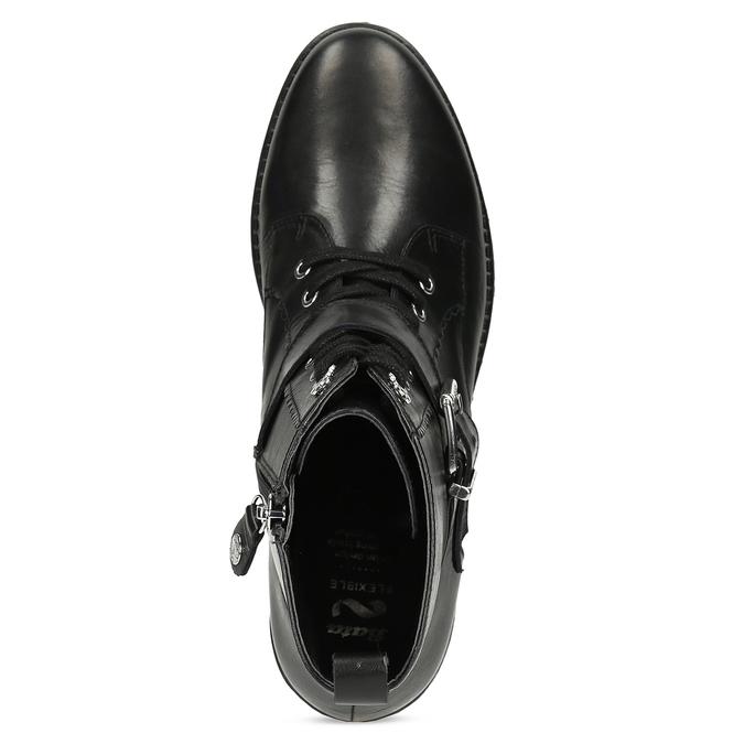 Černá dámská kožená kotníčková obuv flexible, černá, 594-6615 - 17