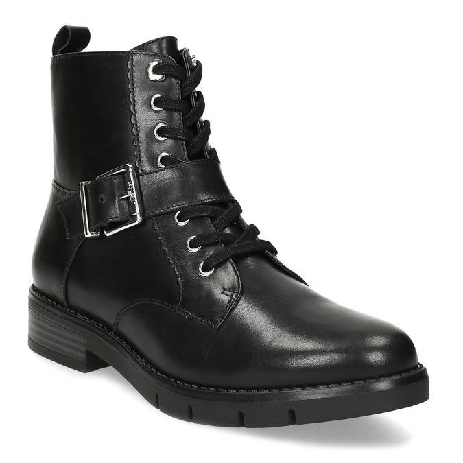 Černá dámská kožená kotníčková obuv flexible, černá, 594-6615 - 13