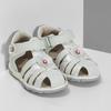 Kotníčkové dětské sandály s květinovou ozdobou bubblegummers, bílá, stříbrná, 161-1607 - 26