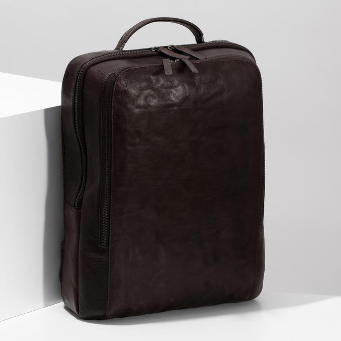 Hnědý kožený pánský batoh bata, hnědá, 964-4328 - 17