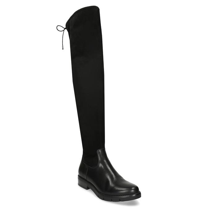 Černé kožené dámské vysoké kozačky flexible, černá, 594-4601 - 13