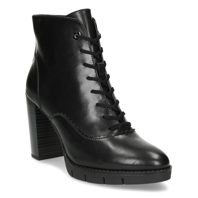 Kožené černé kotníčkové kozačky na podpatku flexible, černá, 794-6607 - 13