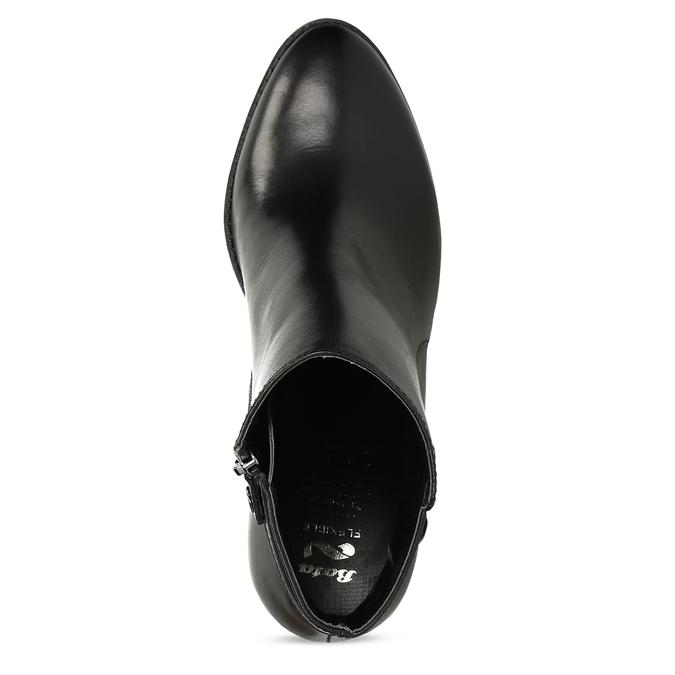 Černé kotníčkové kožené kozačky s přezkou flexible, černá, 794-6608 - 17