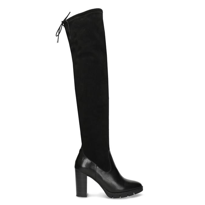 Kožené vysoké kozačky na stabilním podpatku flexible, černá, 794-6613 - 19