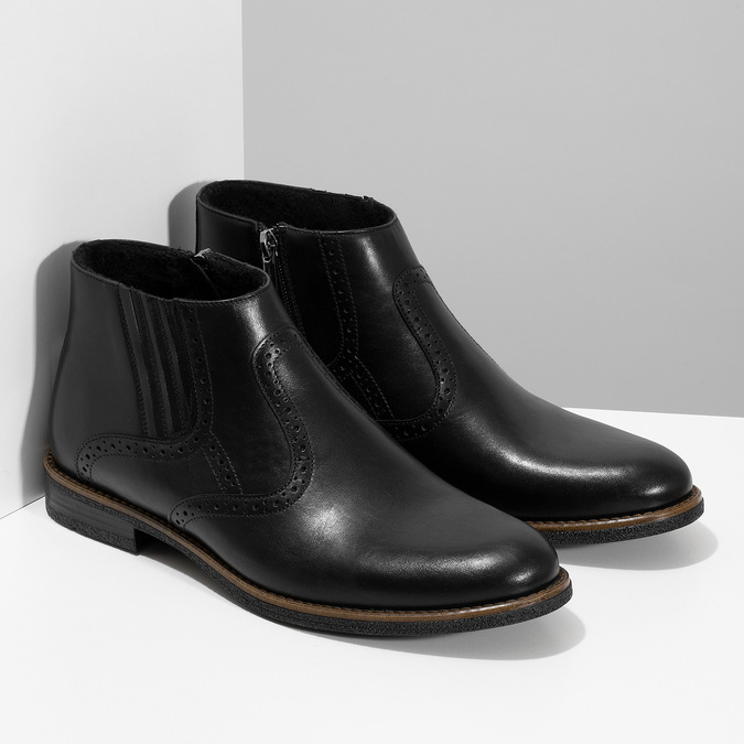 Pánská černá kožená kotníčková obuv conhpol, černá, 894-6602 - 26