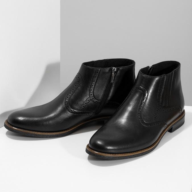 Pánská černá kožená kotníčková obuv conhpol, černá, 894-6602 - 16