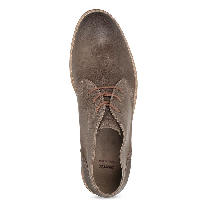 Hnědá pánská kožená kotníčková obuv bata, hnědá, 826-3606 - 17