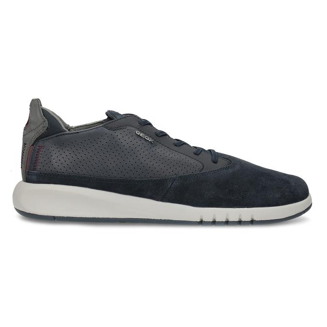 Tmavě modrá pánská kožená obuv geox, modrá, 826-9358 - 19