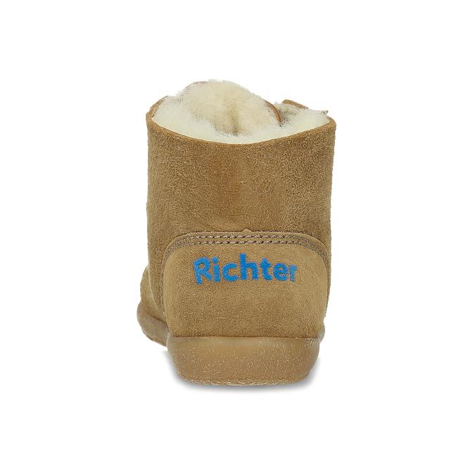 Dětská kožená zimní obuv se zateplením richter, hnědá, 123-8613 - 15