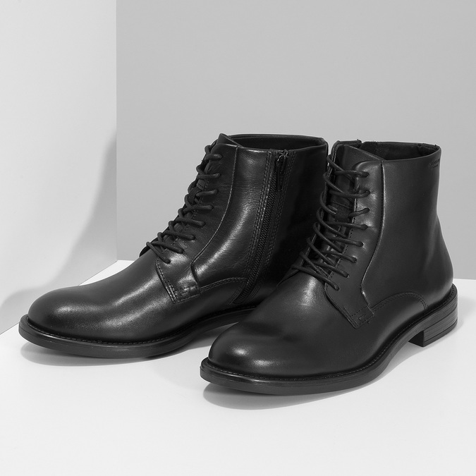 Černá kožená dámská kotníčková obuv vagabond, černá, 524-6106 - 16