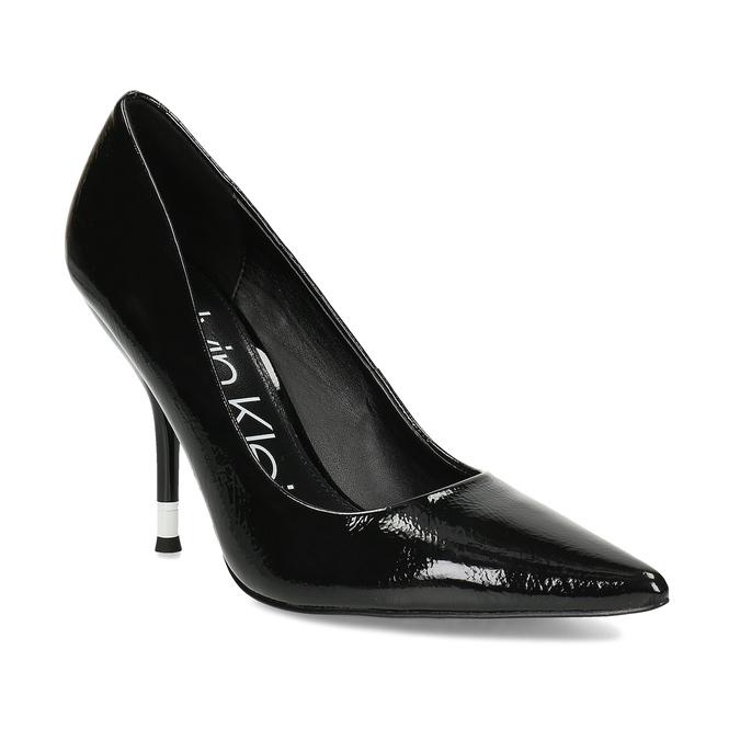 Černé dámské kožené lesklé lodičky calvin-klein, černá, 724-6326 - 13