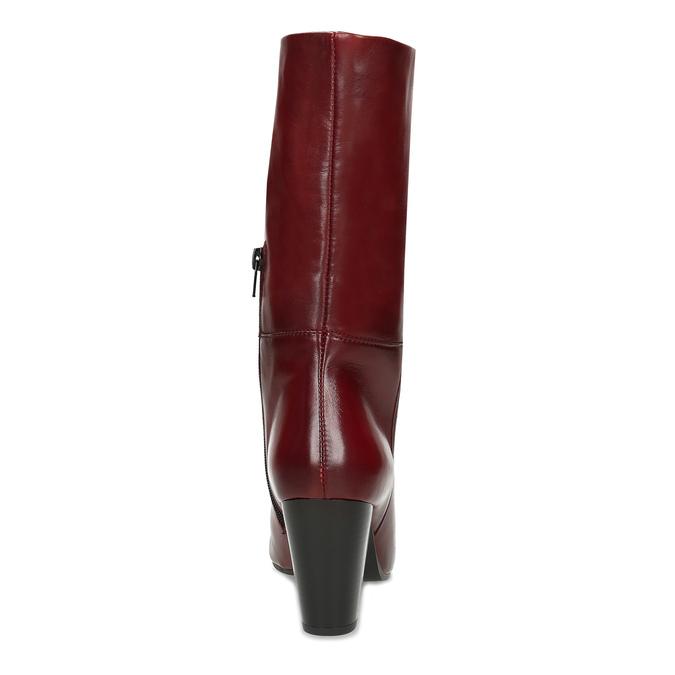 Kožené dámské kozačky vínové bata, červená, 694-5615 - 15