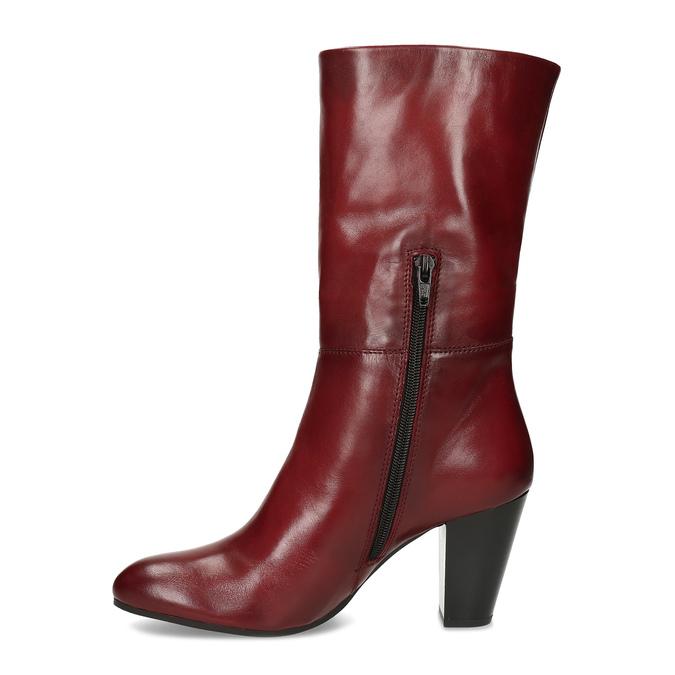 Kožené dámské kozačky vínové bata, červená, 694-5615 - 17