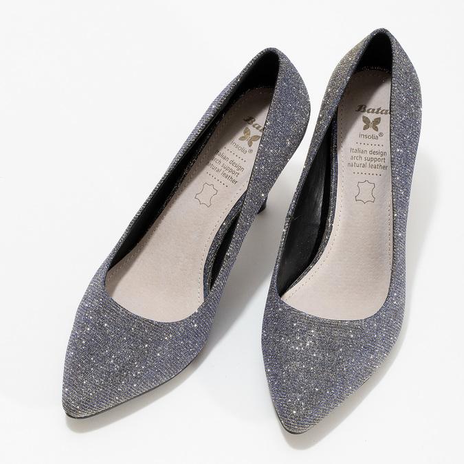 Stříbrné dámské lodičky s modrými odlesky bata, stříbrná, 729-1620 - 16