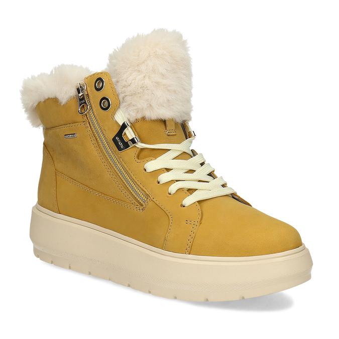 Žlutá dámská kožená zimní obuv geox, žlutá, 596-8542 - 13