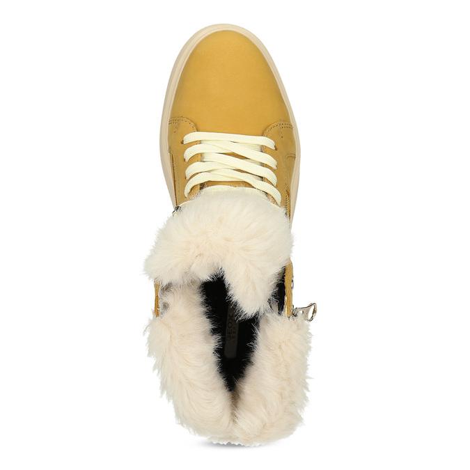 Žlutá dámská kožená zimní obuv geox, žlutá, 596-8542 - 17
