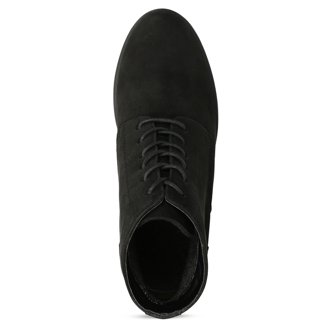 Černé kotníčkové kozačky z broušené kůže bata, černá, 796-6611 - 17