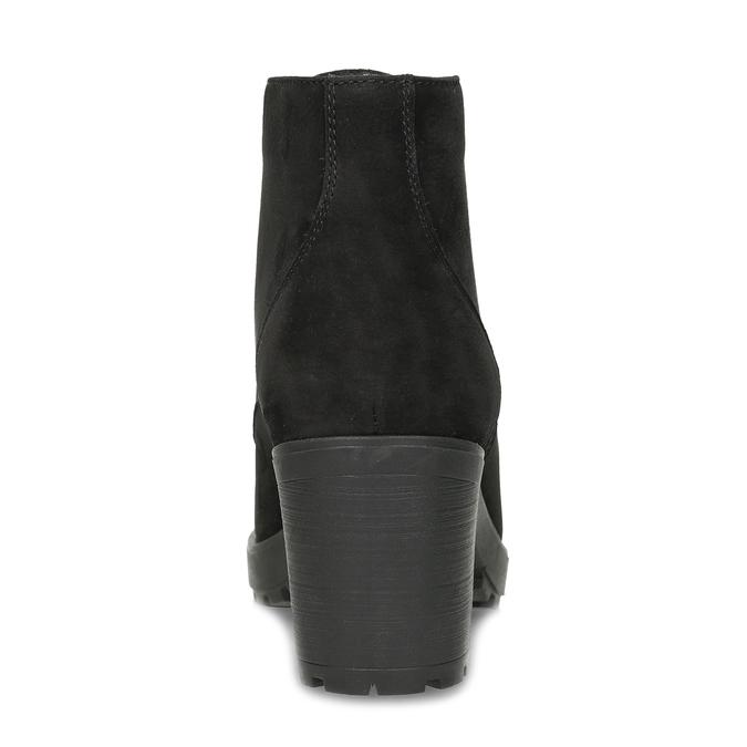 Černé kotníčkové kozačky z broušené kůže bata, černá, 796-6611 - 15