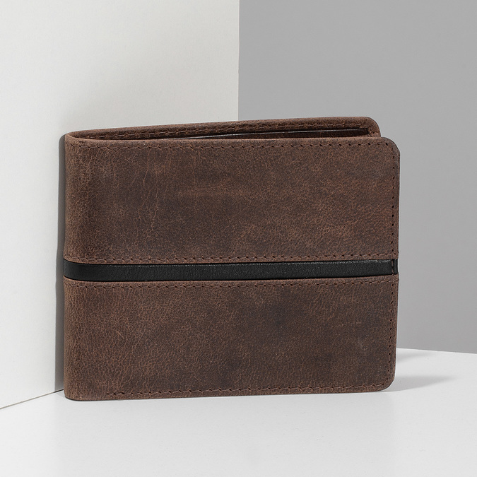 Hnědá pánská kožená peněženka bata, hnědá, 944-4627 - 17