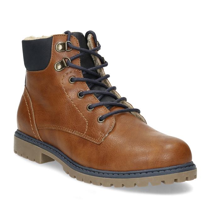 Hnědá dětská kotníčková obuv s prošitím mini-b, hnědá, 491-3667 - 13