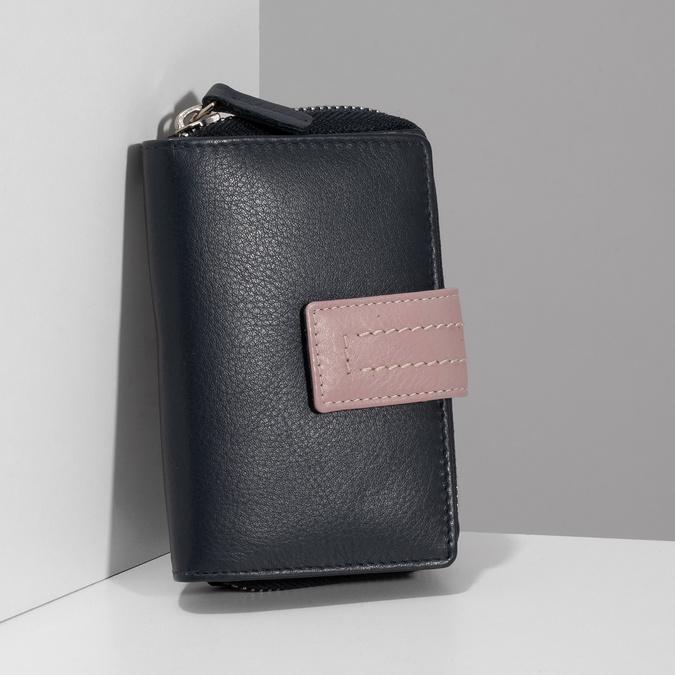 Tmavě modrá dámská kožená peněženka bata, modrá, 944-9623 - 17