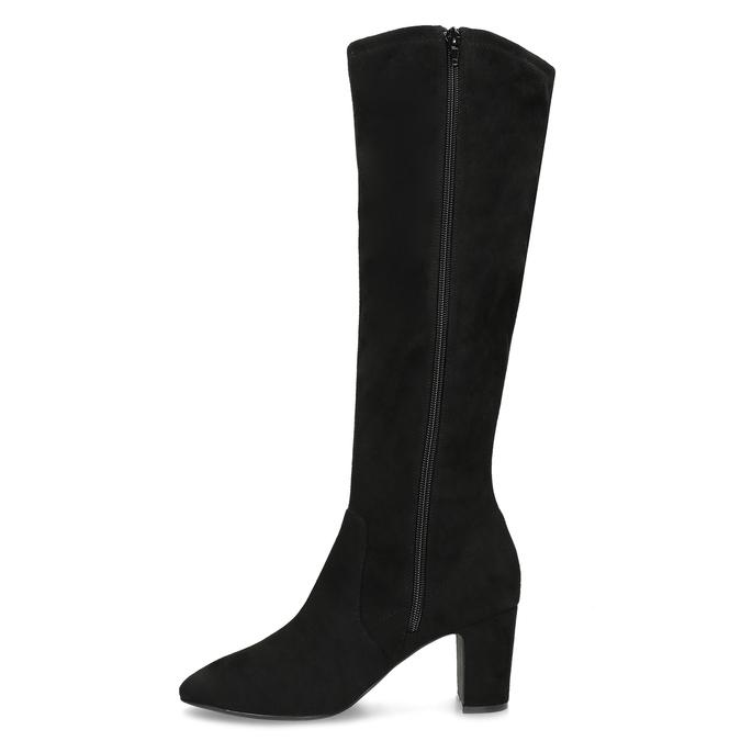 Černé kozačky na stabilním podpatku bata, černá, 699-6606 - 17