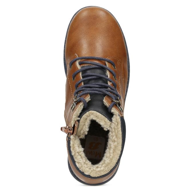 Hnědá dětská kotníčková obuv s prošitím mini-b, hnědá, 491-3667 - 17