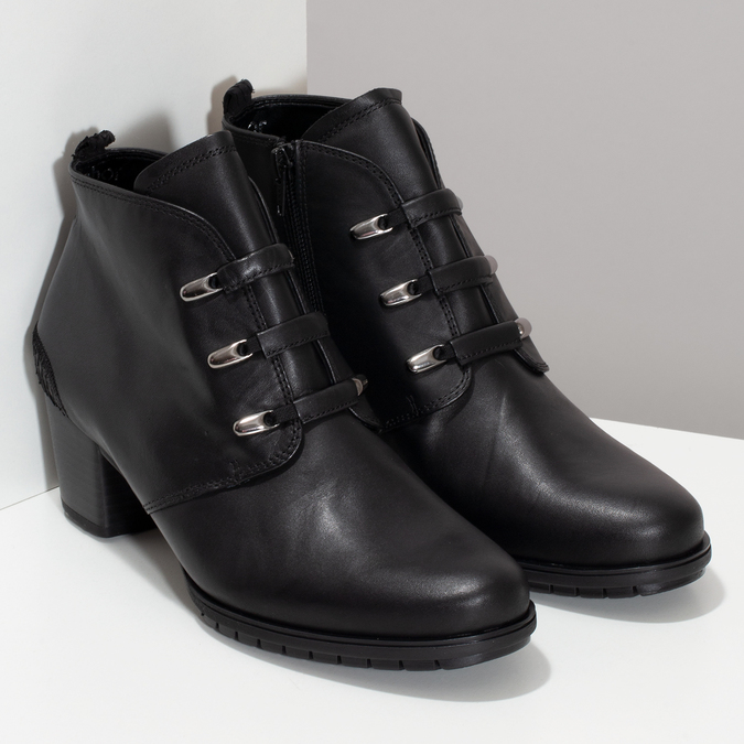 Kotníčkové dámské kožené černé kozačky gabor, černá, 624-6117 - 26
