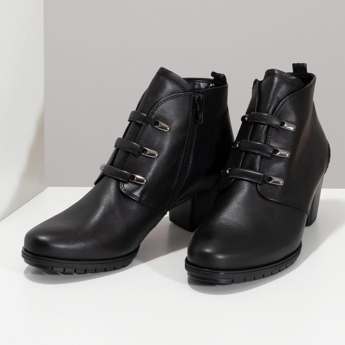 Kotníčkové dámské kožené černé kozačky gabor, černá, 624-6117 - 16