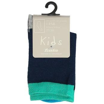 Modré dětské ponožky s barevnými detaily bata, zelená, 919-7685 - 13