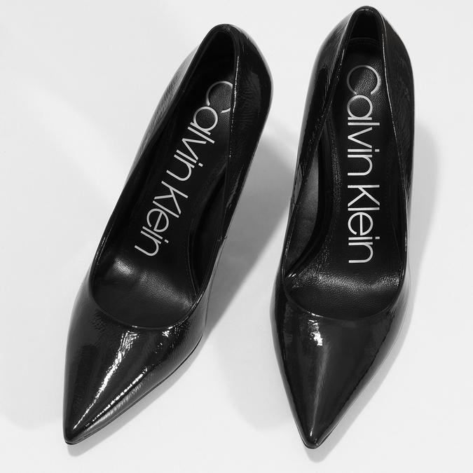 Černé dámské kožené lesklé lodičky calvin-klein, černá, 724-6326 - 16
