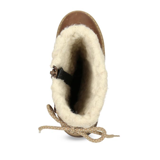 Dětské hnědé kožené kozačky s kožíškem richter, hnědá, 296-3602 - 17