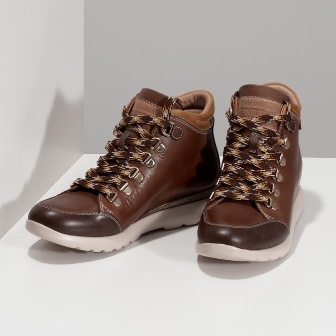 Dámská hnědá kožená zimní obuv pikolinos, hnědá, 596-4616 - 16