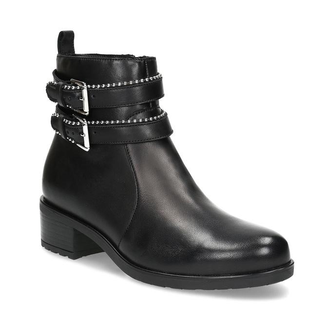 Kožené dámské kozačky s přezkami bata, černá, 594-6665 - 13