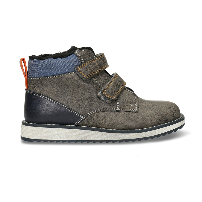 Hnědá kožená chlapecká zimní obuv mini-b, šedá, 291-4631 - 19