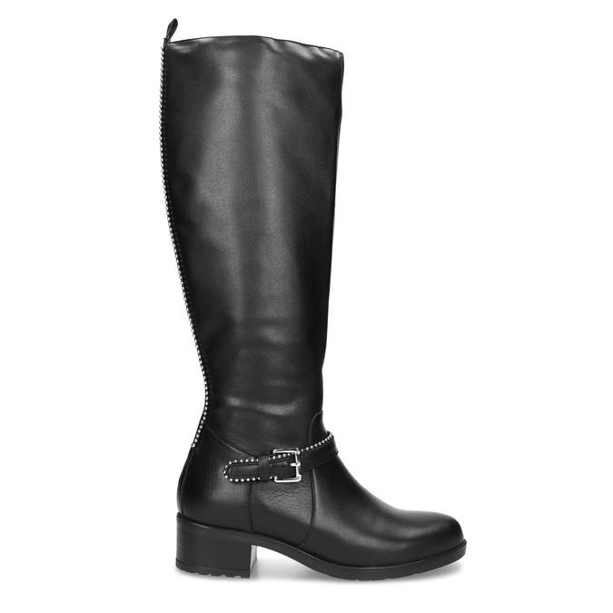 Černé kožené kozačky s přezkou bata, černá, 594-6666 - 19