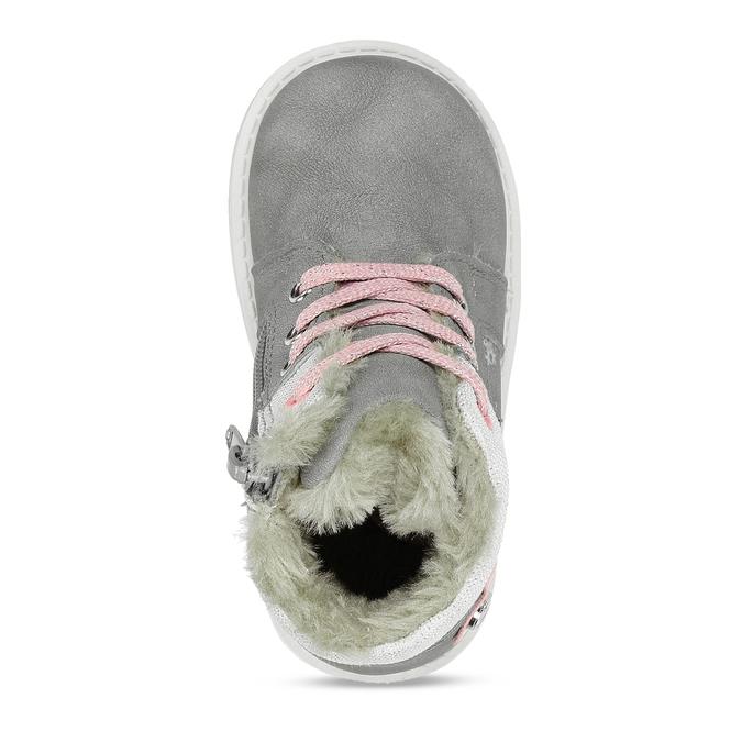 Béžová dětská zimní obuv s kožíškem bubblegummers, šedá, 191-2604 - 17