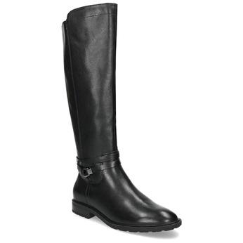 Kožené černé kozačky s páskem a přezkou bata, černá, 596-6614 - 13