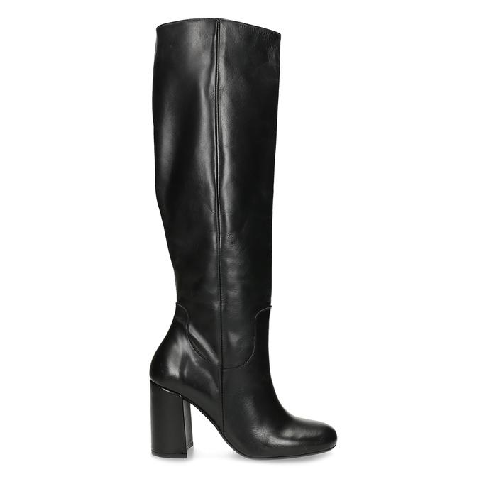 Černé kožené kozačky na stabilním podpatku bata, černá, 794-6624 - 19