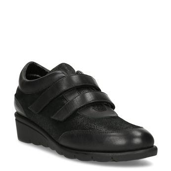 Kožené černé dámské tenisky na klínku comfit, černá, 524-6607 - 13