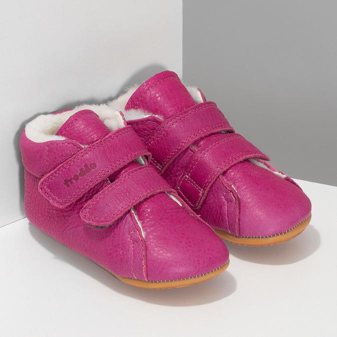 Růžová kožená dětská zimní obuv froddo, růžová, 124-5606 - 26