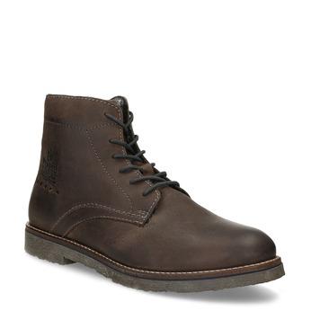 Hnědá pánská kožená kotníčková obuv bugatti, hnědá, 896-2574 - 13