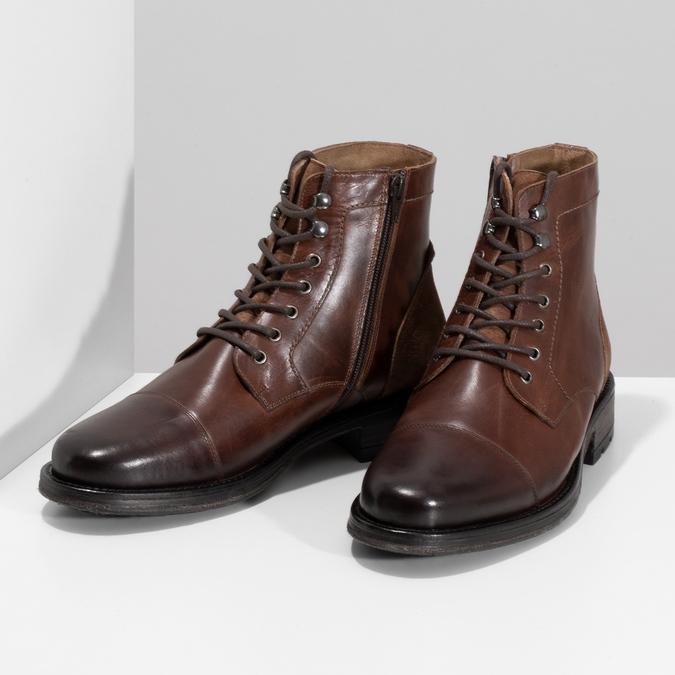 Pánská hnědá kožená kotníčková obuv bata, hnědá, 896-3767 - 16
