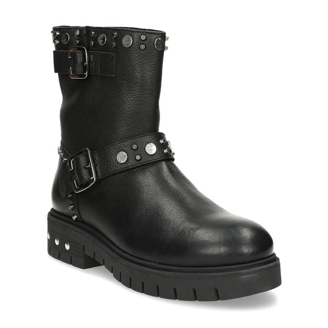Kožené černé kozačky s kovovými cvoky bata, černá, 596-6606 - 13