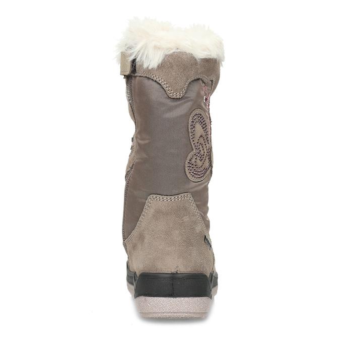 Béžové dětské kožené sněhule s kožíškem mini-b, béžová, 399-8611 - 15