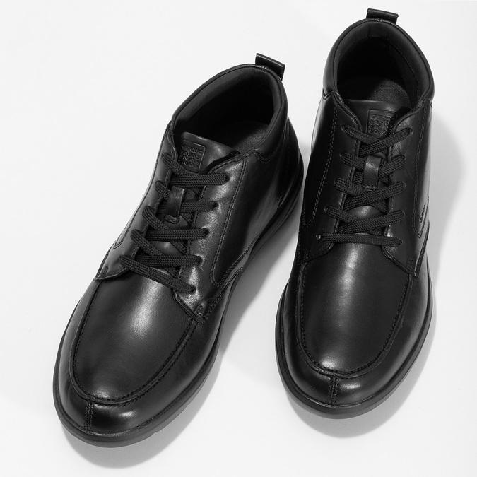 Černá pánská kotníčková kožená obuv geox, černá, 826-6352 - 16