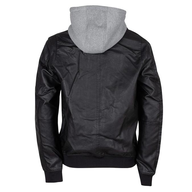 Pánská černá bunda s šedivou kapucí bata, černá, 971-6246 - 26
