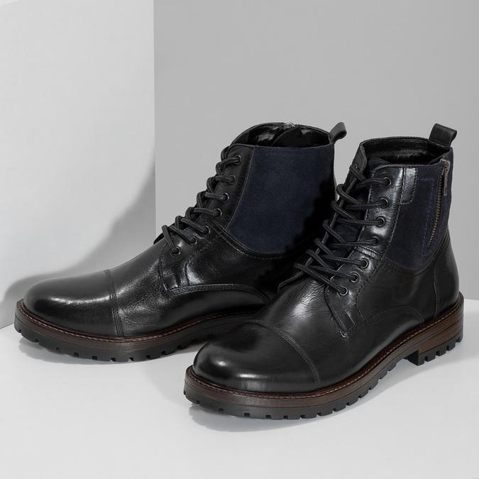 Pánská kožená kotníčková obuv bata, černá, 896-6765 - 16
