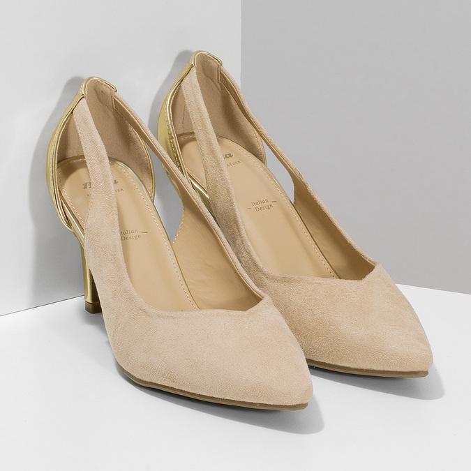Béžové dámské lodičky se zlatou patou bata, béžová, 729-8621 - 26