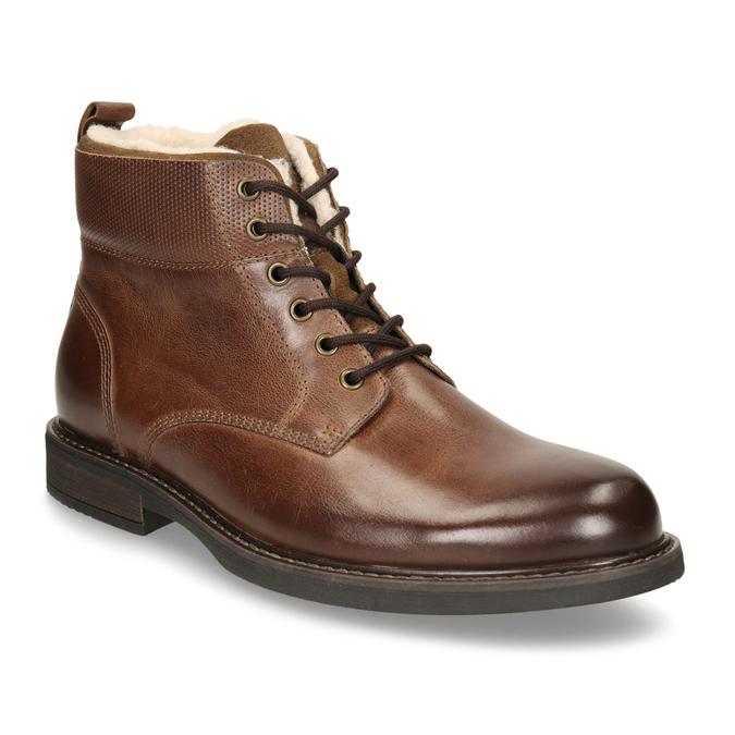 Kožená hnědá kotníčková obuv se zateplením bata, hnědá, 896-3749 - 13